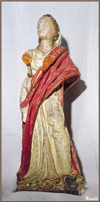 Statue de Sainte Quitterie, église Saint Pierre de Mons à Belin-Beliet (Gironde)