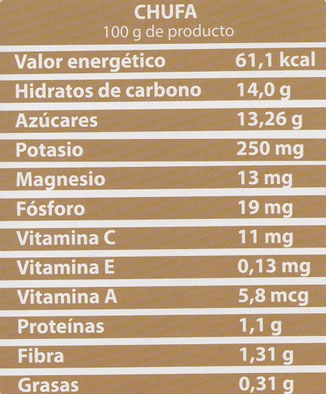 Las calorías de la chufa de 100 gramos.
