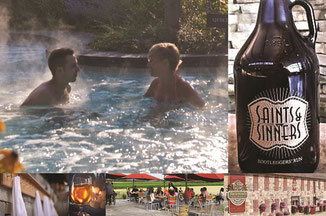 Summer weekend spa getaway. Scandinave Spa and Saints & Sinners Bootleggers Trail with local wineries, cideries and craft brewers..
