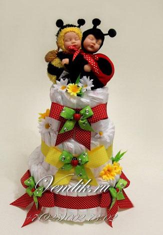 """© © Торт из памперсов """" Летний сон на двоих"""" - подарок для двойняшек."""