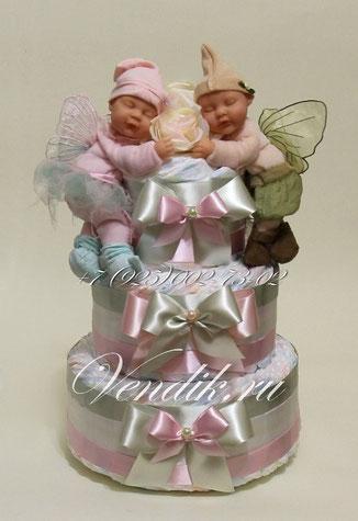 """© Торт из памперсов """"Малыши"""" - подарок для двойняшек"""