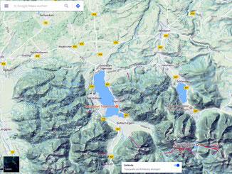 Google Maps mit Gelände und Höhenlinien