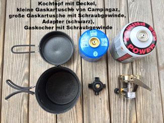 Kochtopf mit Deckel, Gaskartusche Campinggaz, Schraubgewinde, Adapter, Gaskocher