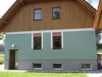 Fassade Einfamilienhaus mit Effektflächen