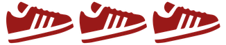 Grafik von drei roten Sportschuhen in Bewegung als Sinnbild für Sport Coaching