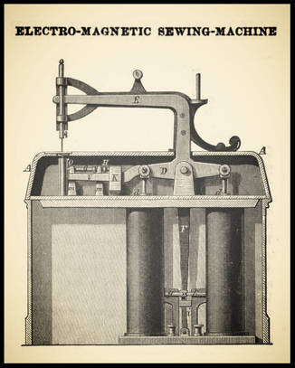 Fig. 1 - Electro-Magnetic Sewing Machine  (1871)
