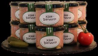 Weinbuchs Käsebierwurst im Glas, Metzgerei Weinbuch, Öpfingen, Original Öpfinger Schwarzwurst, Schwarzwurst, Wurstkonserven, Wurst im Glas, hausgemachte Wurst, Käsebierwurst, Bier, Vesper
