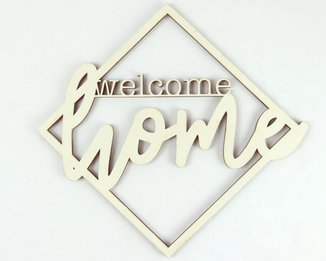 "Lasercut Wanddekoration ""welcome home"""