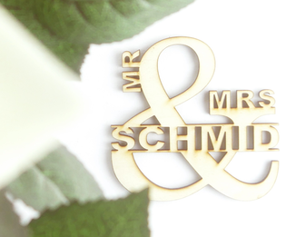personalisierter Lasercut, Wanddekoration Mr. und Mrs. / Hr. & Fr.