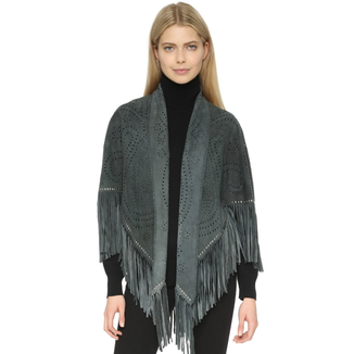 STORM SUEDE KIMONO WITH STUDS AND FRINGES