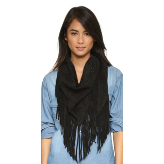 LEATHER SUEDE  BLACK SHAWL WITH FRINGES