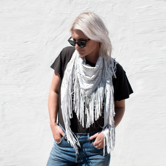 WHITE LEATHER SUEDE SHAWL WITH FRINGES