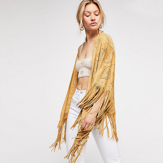 SAFFRON MARYGOLD RUBY SUEDE SHAWL WITH FRINGES AND SILVER STUDS