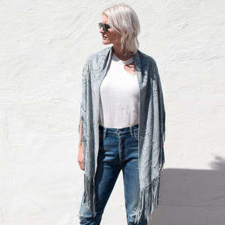 LEATHER SUEDE  SKY BLUE SHAWL WITH FRINGES