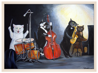 auftragsmalerei-inna-bredereck-musik-trommel-saxophon-klavier-band-katzen-gemaelde-katzenportrait-kunstwerk