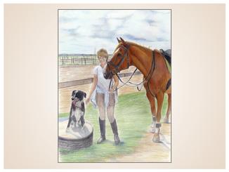 auftragsmalerei-inna-bredereck-kunstwerk-pferdeportrait-hund-frau-reiterin-pferdehalfter-koppel
