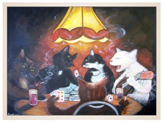 auftragsmalerei-inna-bredereck-acrylgemaelde-katzen-kartenspiel-zocken-lampe-katzenportrait-kunstwerk