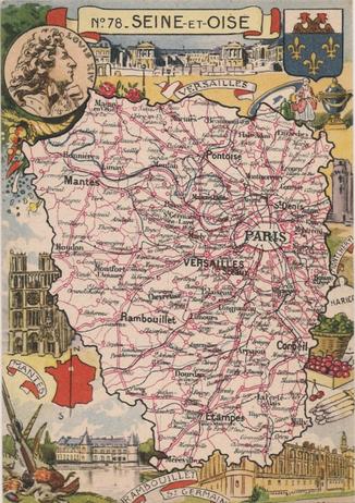 Recto d'une carte postale timbrée au dos envoyée depuis les Yvelines