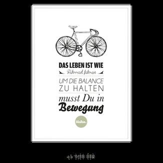 """Kunstdruck """"Das Leben ist wie Fahrrad fahren..."""""""