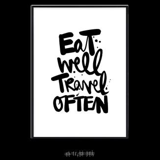 Kunstdruck eat well travel often kaufen