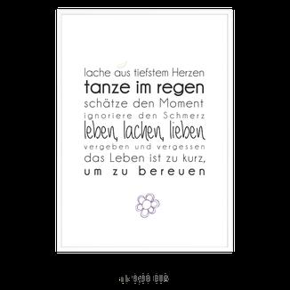 """Kunstdruck """"leben lachen lieben"""""""