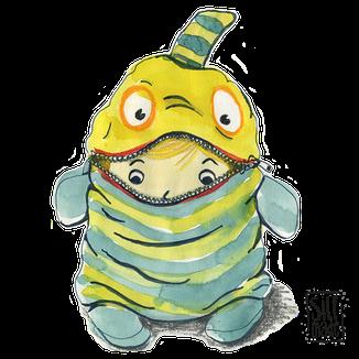 Aquarell Illustration eines Mädchen im Monster Kostüm