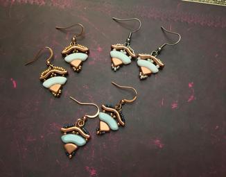 Japanischer Pavillion- Statementschmuck, Ohrringe, Designer Kinari Handmade Jewellery