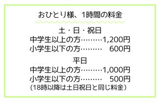 1時間の料金は大人1000円子ども500円です