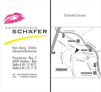 Zahntechnik Schäfer Geschäftskarten 1994