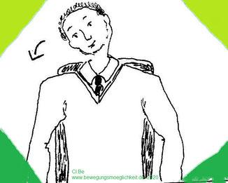 Zeichnung eines sitzenden Mannes, der den Kopf nach rechts neigt.