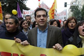 Alexis Tsipras i Syriza demo-blok