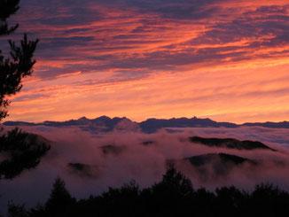 峰の原から見る夕陽