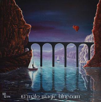 MaLo 2016 * Das Viadukt * Original Acrylbild auf Keilrahmen 80 x 80 cm, € 170,--