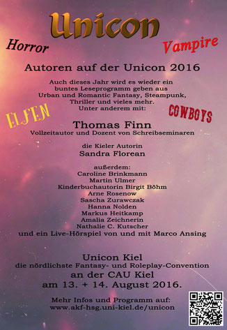 Die Liste der Autoren auf der Unicon in Kiel.