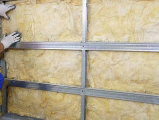Sistema a cappotto con imbottitura in lana di roccia con successiva applicazione di lastre in cartongesso