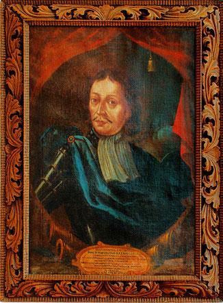 Das Porträt des Freiherrn von der Goltz hängt im Pfarrhaus zu Golčův Jeníkov/CZ