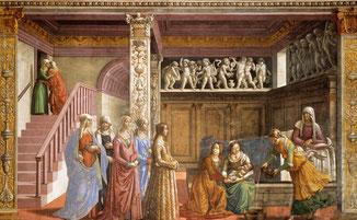 Nativité de la Bienheureuse Vierge Marie, par Domenico Ghirlandaio. Santa Maria Novella, Florence, Italie.
