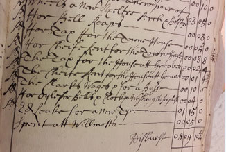 A  page from the 17th-century churchwardens' accounts
