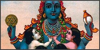 Matsya, avatar de Vishnu, porteuse d'une étoile magique à sa main droite...