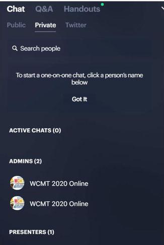 ↑ 画面上には常にChat, Q&A, Handoutという項目があり、資料もすぐダウンロードでき、双方向のやり取りができます。