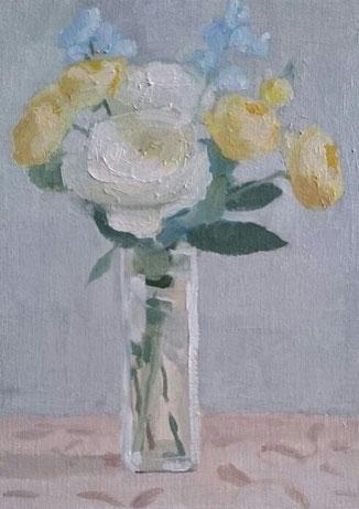 仕上がり前の黄色のバラの花束 油彩4号