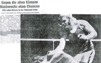 Zeitungsartikel - Nachwuchs Boxer Udo Holtmann überzeugt in Bochumer Ruhrland Halle