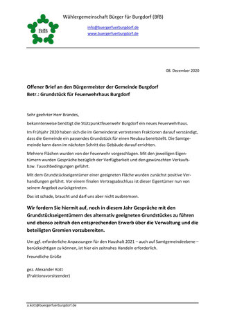 Offener Brief der BfB-Fraktion