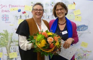 Die Referentin Ulrike Müller-Münch und die Diözesanvorsitzende Rosalinde Göppel. Foto: Christina Grimminger