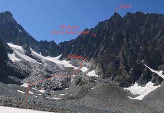 Mont Collon, SE-Sporn, Südostsporn, Eperon sudest, Arolla, Refuge des Bouquetins