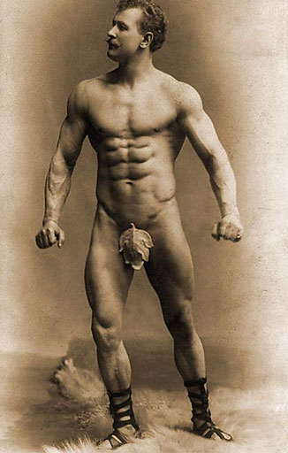 Legendary German body builder, Eugen Sandow, from the 19th century - obsessed with good quality diets, fig leaves and superbly coiffed moustaches!