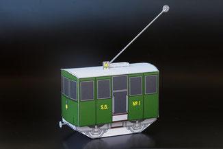 Modell-Elektrolokomotive Ge 2/2 Nummer 1, der Sissach–Gelterkinden-Bahn (SG) in grüner Farbgebung.