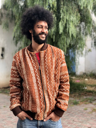 mud cloth jacket - bomber en Bogolan du Mali; handmade jacket
