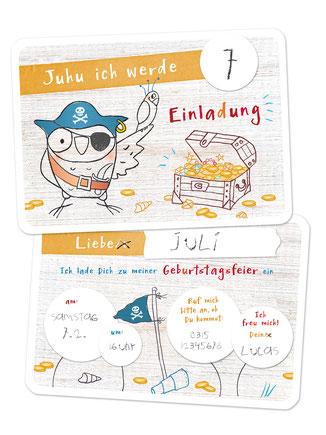 Einladungskarte Kindergeburtstag Pirat Eule