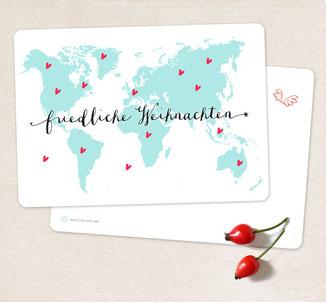 Postkarte frohes fest weltkarte